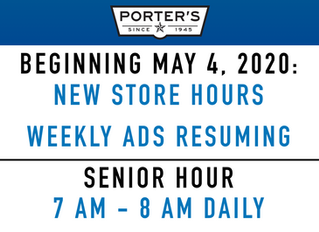New Store Hours & Weekly Ads Resume May 4, 2020