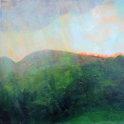 Rain, acrylic on canvas, 12 x 12, 2017
