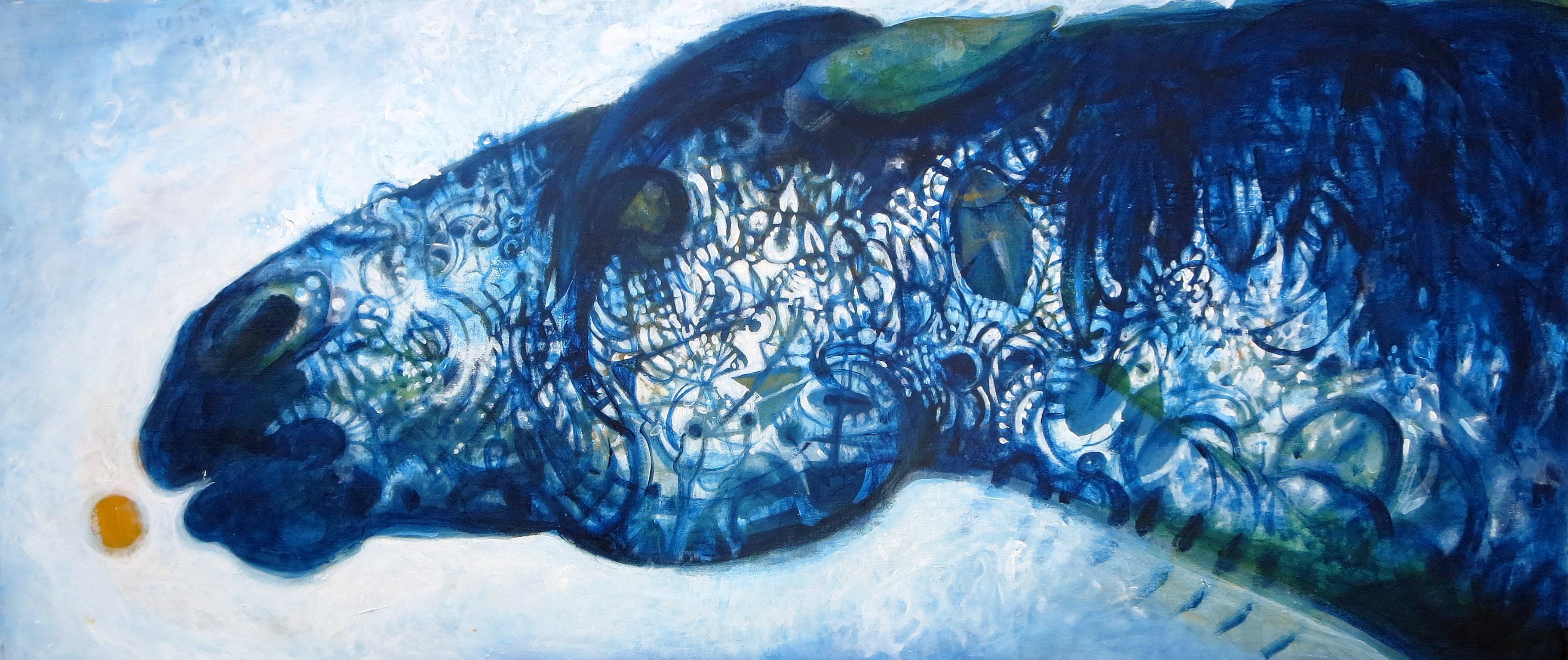 Blue Horse, acrylic on panel, 16 x 36, 2015