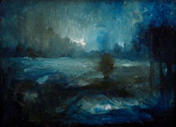 Rain in the Yard, oil on canvas, SOLD
