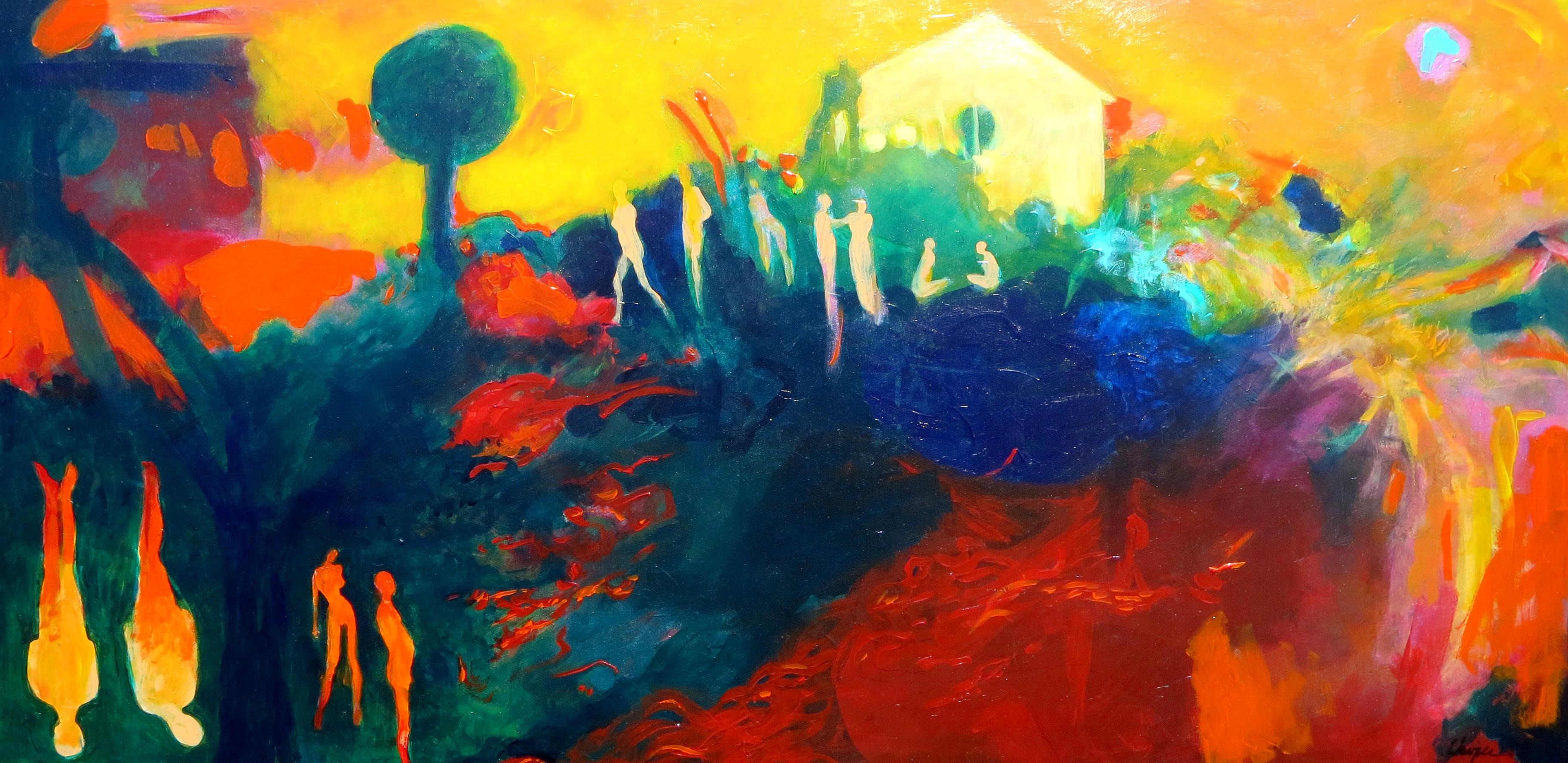 Reunion, acrylic on panel, 24 x 48, 2015
