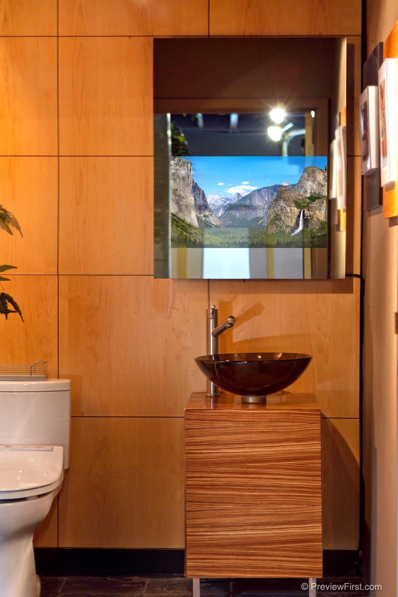 """""""Naked"""" Bathroom Mirror TV, On"""