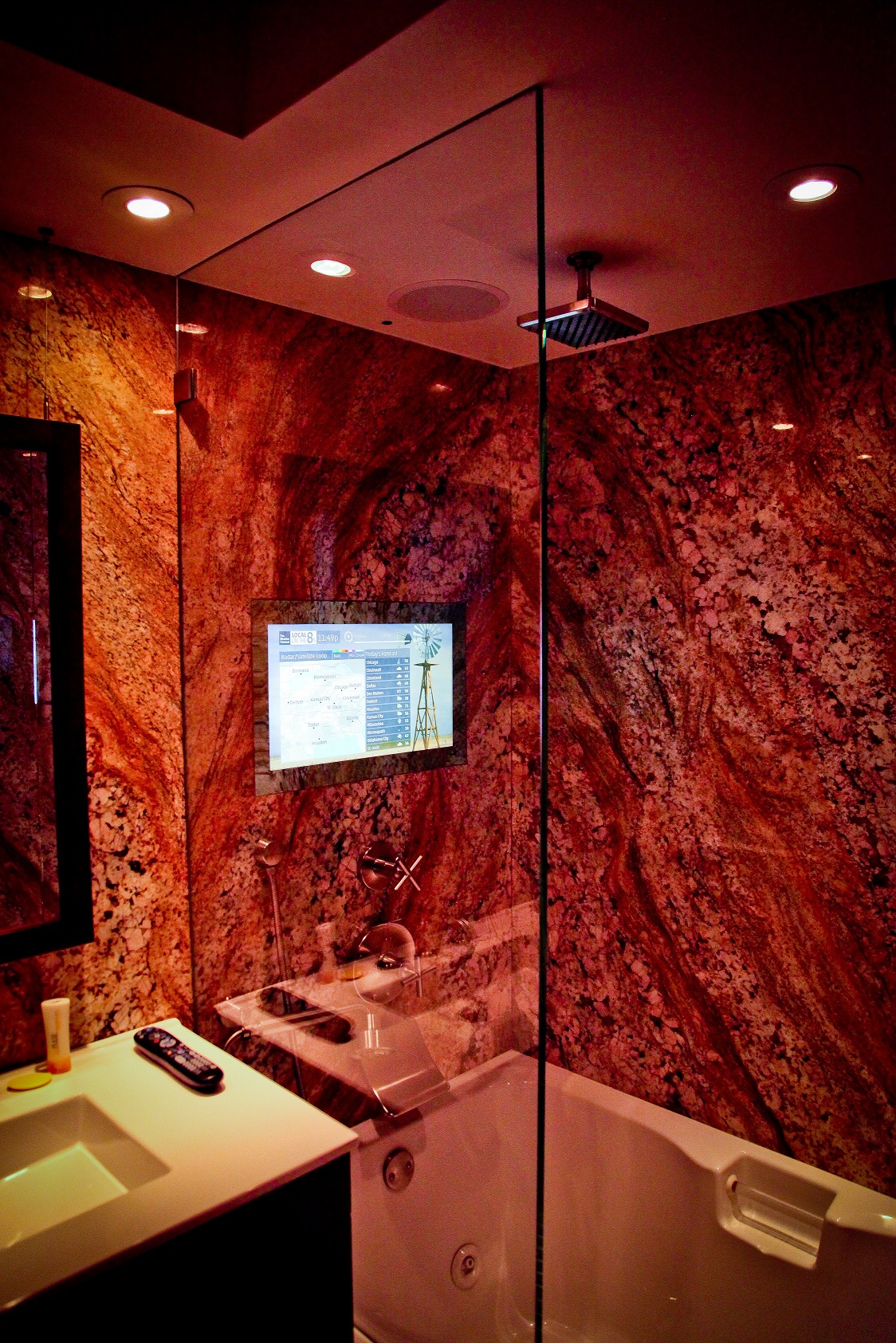 Shower, Flush-Mounted Mirror TV, On