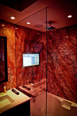 Shower, Flush-Mounted Mirror TV, On
