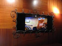 "Custom Iron Frame with 50"" Mirror TV"