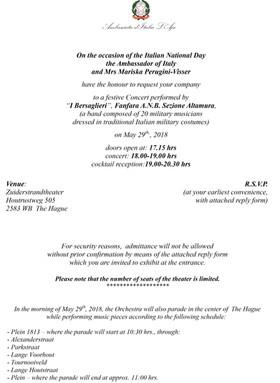 L'Ambasciata Italiana Olandese invita l'Agricola Piano il 29 maggio 2018 all'Italian Nationa