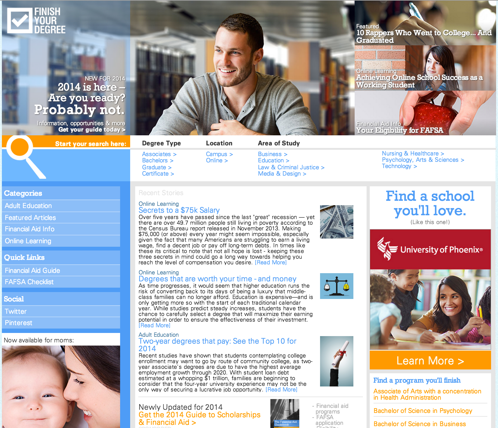 Online Degree Home page