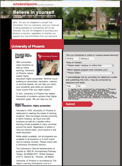 Scholarship Offer page
