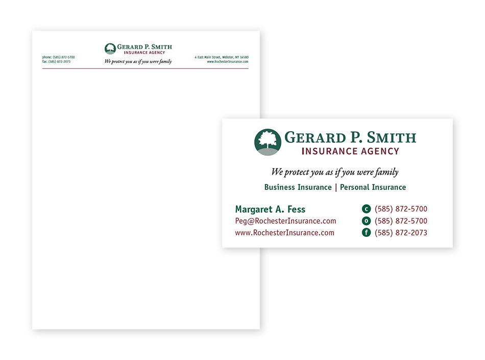 Gerard P. Smith Insurance Agency- Business Card & Letterhead