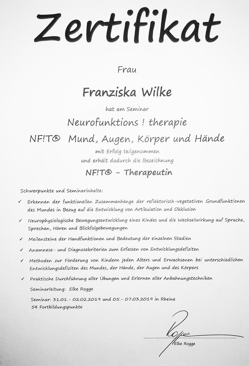 Zertifikat nft für Logopädin Franziska Wilke Potsdam