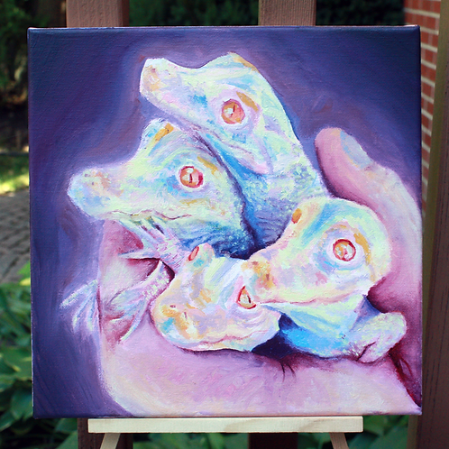 handful of lizards painting