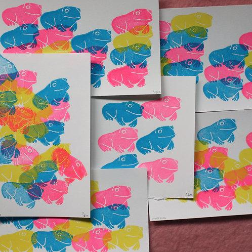 froggie layered linocut prints
