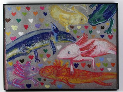 axolotl love (with frame)