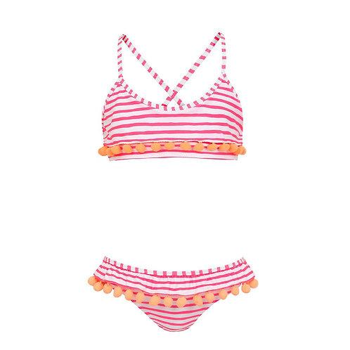 Sunuva Girls Hot Pink Stripe Pom Pom Bikini