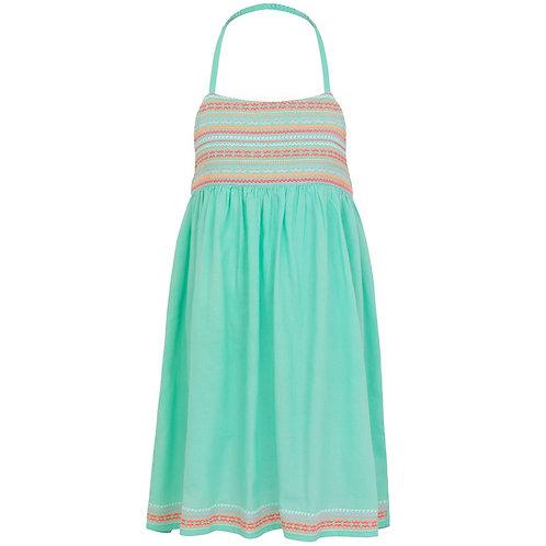 Sunuva Girls Aqua Embroidered Halter Neck Dress