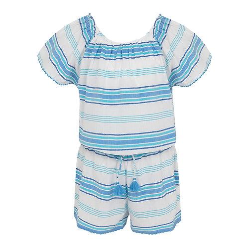 Sunuva Girls Blue Stripe Off Shoulder Playsuit