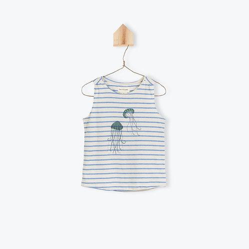 Arsène et les Pipelettes T-Shirt Blue Striped JellyFish