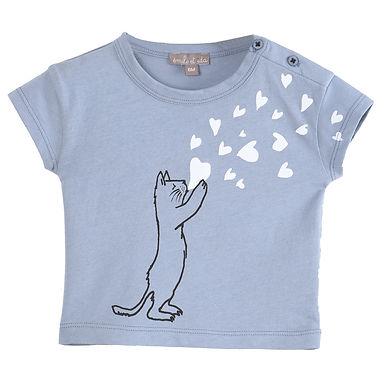 Emile et Ida T-Shirt Bleuet Cat Heart
