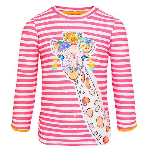 Sunuva Girls Hot Pink Stripe Giraffe Long Sleeve Rash Vest