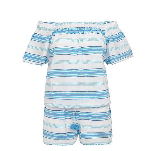 Sunuva Womens Blue Stripe Off Shoulder Playsuit