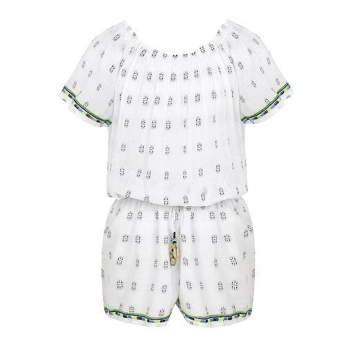 Sunuva Girls White Embroidered off Shoulder Playsuit