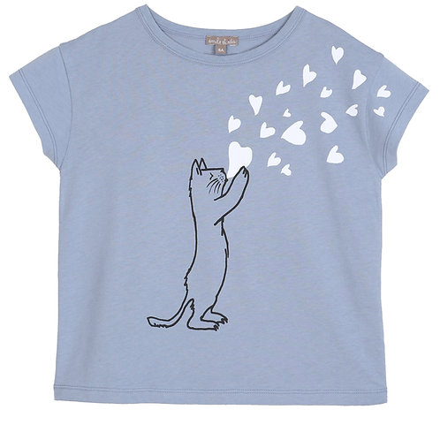 Emile et Ida T-Shirt Bleuet Cat Heart