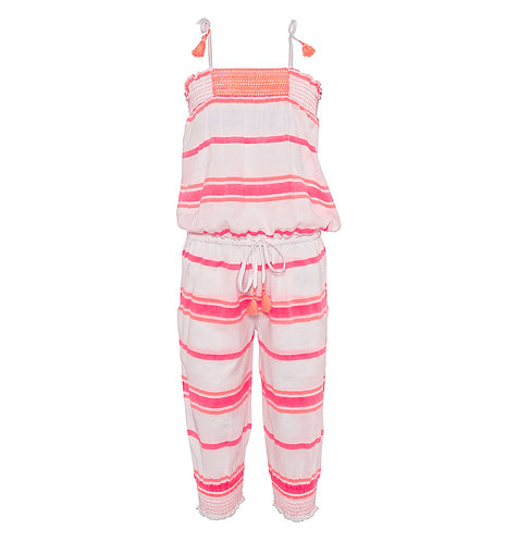 Sunuva Girls Pink Multistripe Smocked Playsuit