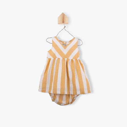 Arsène et les Pipelettes Baby Dress Striped Caramel