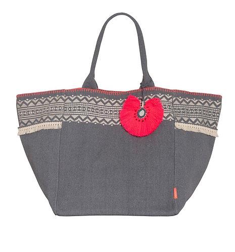 Sunuva Womens Grey Tassel Beach Bag