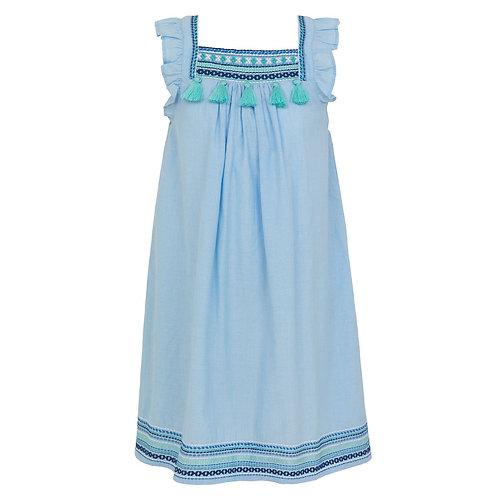 Sunuva Girls Blue Embroidered Flutter Sleeve Dress