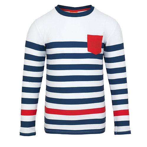 Sunuva Boys Navy Wide Stripe Long Sleeve Rash Vest
