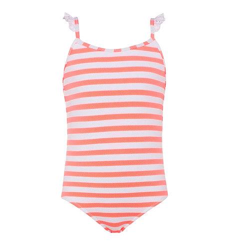 Sunuva Girls Pink Waffle Stripe Frill Strap Swimsuit