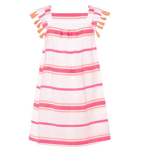 Sunuva Girls Pink Multistripe Tassel Flutter Dress