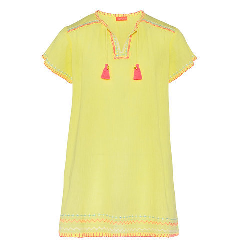 Sunuva Girls Embroidered Yellow Cheesecloth Dress