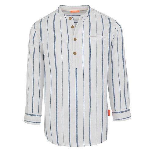 Sunuva Boys Blue Stripe Nehru Collar Long Sleeve Cotton Shirt
