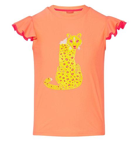 Sunuva Girls Orange Boho Leopard Flutter Short Sleeve Rash Vest