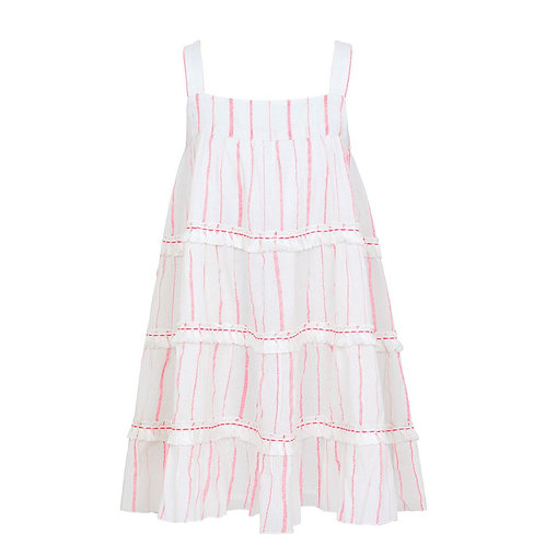 Sunuva Girls Pink Stripe Fringed Tier Dress