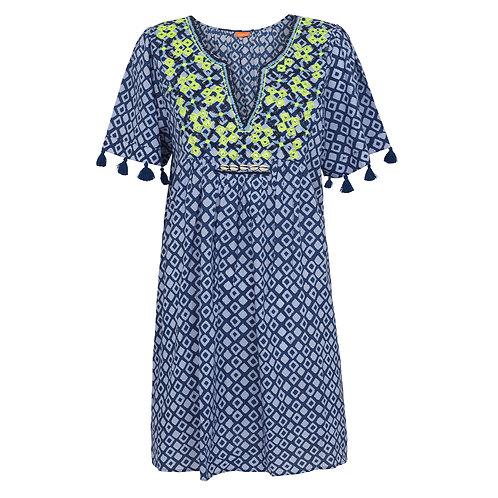 Sunuva Womens Blue Embroidered Boho Dress