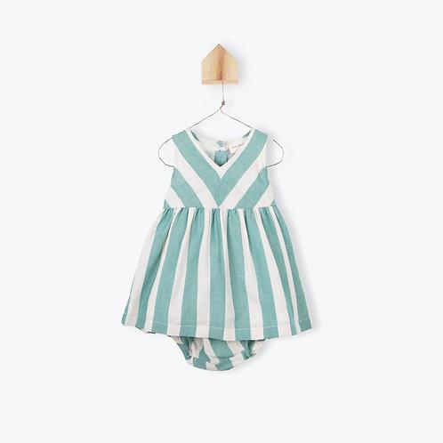 Arsène et les Pipelettes Baby Dress Striped Paon