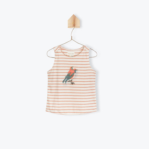 Arsène et les Pipelettes T-Shirt Terracota Striped Birds