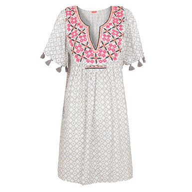 Sunuva Womens Grey Embroidered Boho Dress