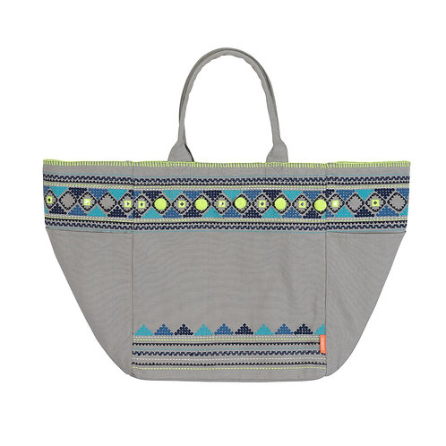 Sunuva Womens Light Grey Embellished Beach Bag