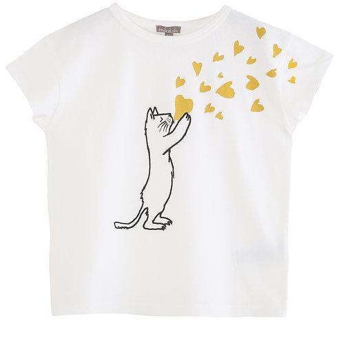 Emile et Ida T-Shirt White Cat Heart