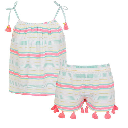 Sunuva Girls Multi Stripe Strappy Short Set