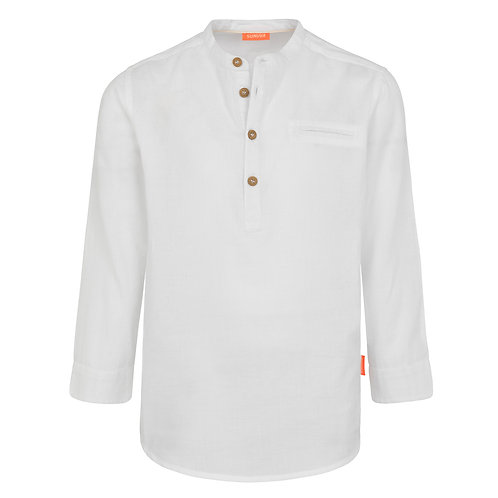 Sunuva Boys White Nehru Collar Long Sleeve Cotton Shirt
