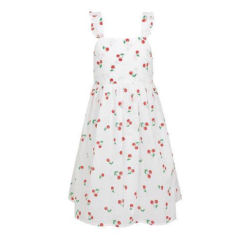 Sunuva Girls White Cherries Pinafore Dress