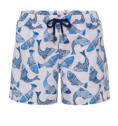 Sunuva Boys White Batik Fish Swim Shorts