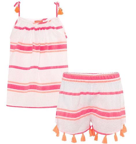 Sunuva Girls Pink Multistripe Cotton Shorts Set