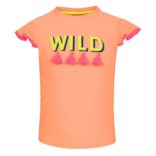 Sunuva Girls Peach WILD Short Sleeve Rash Vest