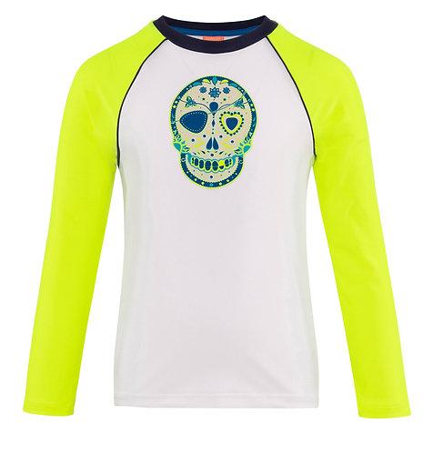 Sunuva Boys White Mexican Skulls Long Sleeve Rash Vest